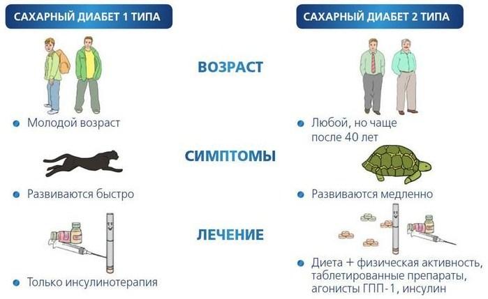 Основные отличия этих разновидностей диабета представлены на картинке и в таблице.